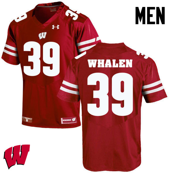 Men Winsconsin Badgers #39 Jake Whalen College Football Jerseys-Red